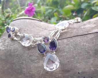 Rock crystal and Amethyst necklace