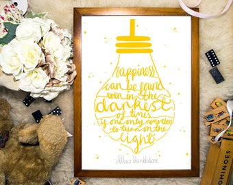 Harry Potter Art | 'Happiness Quote' | Harry Potter Print | Happiness Can Be Found | Dumbledore Quote | Inspirational Quote Print | Yellow |