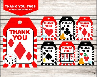 Casino Night Poker Thank you tags instant download, Casino Tags, Casino Night Poker Party Thank you tags