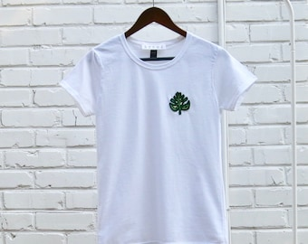 Palm Frond Embroidered T-shirt