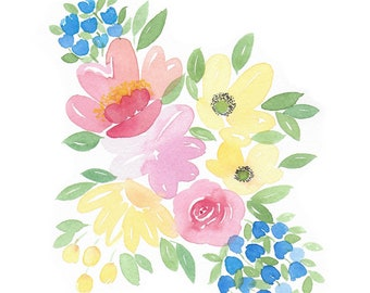 Colorful Flowers - Watercolor Art Print,