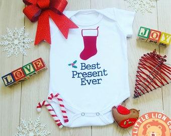 Best Present Ever Onesie, Christmas Onesies, Xmas Onesie, Christmas Bodysuit, Christmas Baby Outfit, My First Christmas