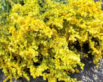 Dried Goldenrod, Dried Wildflowers, Yellow Flowers, Flower Bunch, Dried Flower Bouquet, Flower Potpourri, Solidago canadensis, Rustic flower