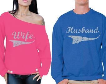 Husband Wife Couple Sweatshirts Husband Sweater Wife Off Shoulder Sweatshirt Valentines Sweaters for Couples Matching Couple Sweatshirts