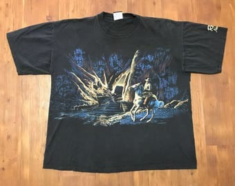 Vintage Native American Western themed T-Shirt Reno Nevada 90's XL Cowboys and indians Wrap around graphics