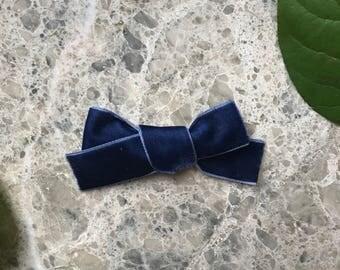 The Harper- Deep Blue- baby bow, nylon baby bow, toddler bow, toddler clip, baby clip, blue bow, velvet bow