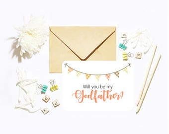 Will You Be My Our Godfather? Single Postcard With Envelope Christening Baptism