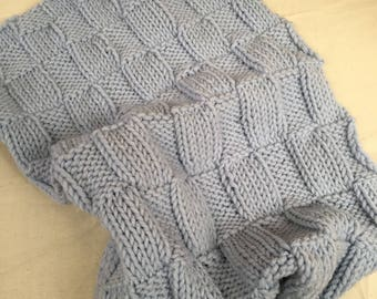 Hand Knitted Super Soft Baby Blanket in Blue -100% Italian Merino Wool