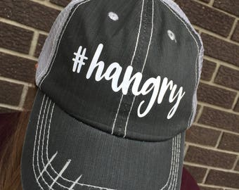 Hangry Hat-Distressed Trucker Hat-New!
