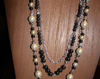 Statement necklace with white pearl, crystal and hematite beads