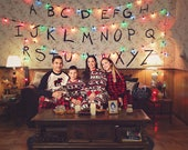 3 Stranger Things Digital Backdrops tv show backdrop eleven upside down digital background Family Portrait Christmas layered photo Template