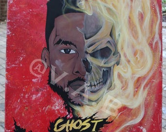 Ghost Rider Redemption 18x24 Acrylic on canvas ORIGINAL VAB blk afro marvel
