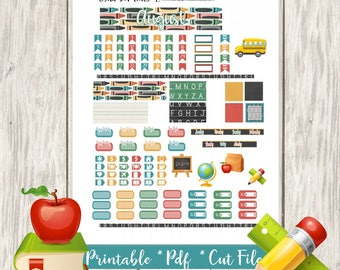 Back to School Printable Planner Stickers/Pocket Traveler Notebook/Monthly Kit/Annie Plans Printable/Fall August Glam Books Pencil Backpack