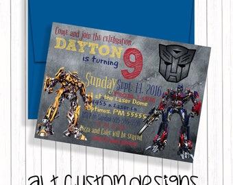 Transformer Invitation - printable  - transformer birthday invitation