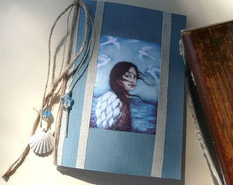 Little blue book with illustration, linen, sea shell