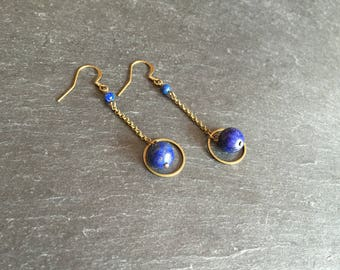 Long earrings with lapis lazuli beads.