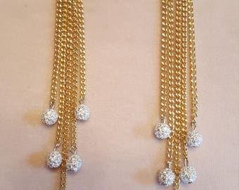 Rachel Zoe inspired Fringe Chain earrings with stone balls
