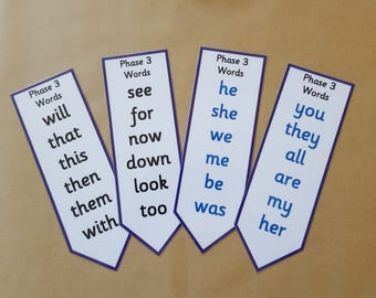 Phase 3 Phonics Bookmarks - Literacy, letters and sounds, EYFS, early learning, key words, reception, tricky words,