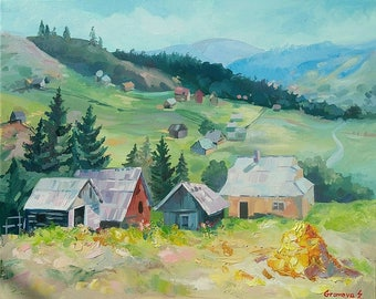 Picture on canvas Oil Paintings Landscape Nature Very realistic picture Wall Art Great Art Village