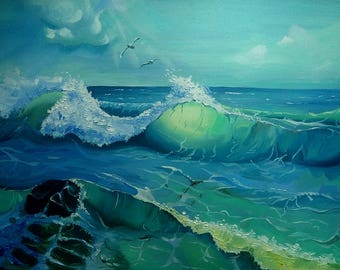 Picture on canvas Oil Paintings Landscape Nature Very realistic picture Wall Art Great Art Sea Waves