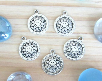 Sun Moon charms, set of 5, silver pendant, Happy face, sun pendant, happy sun, silver sun, charm supplies, US seller, coin charms, small sun