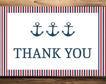 Printable, Nautical Baby Shower Thank You Card, Baby Shower Thank You Cards, Thank You, Nautical, Anchor Thank you card