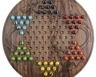 Engraved Walnut Chinese Checkers Board