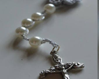 crochet silver plated wire and pearls (ref 16) Rosary chain