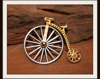 Vintage JJ Company Penny Farthing Lapel Pin, Penny Farthing Brooch, Jonette Jewelry, High Bike Pin, High Wheel Bicycle Pin, Silver and Gold