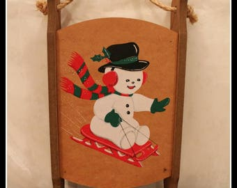 Adorable Wooden Snowman Hanging Sled, Christmas Sled Decoration, Reversible Sled Shelves, Painted Snowman Sled Decor, Holiday Sled Decor