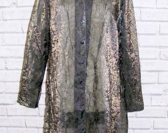 Size 14 vintage 90s long length/sleeve party blouse sheer pewter crinkle (IA92)