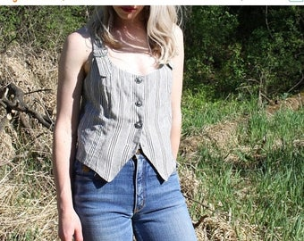 ON SALE Vintage Striped Camisole Cropped Button Up Crop Top Cami Tank XOXO Medium