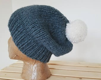 Adult Pom Hat - Charcoal with white pom