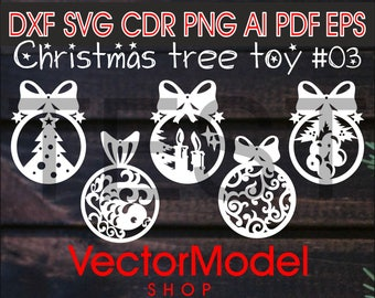 Christmas tree toy,decorations, wooden and paper laser cut CNC File Vector Art DXF CAD Silhouette Cameo Template souvenir shape model