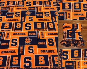 LARGE SYRACUSE University Handmade College Fleece Tie Blanket | 55x65 | Syracuse Home Decor | Syracuse Orange University Blanket
