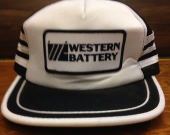 WESTERN BATTERY Alberta Oil Patch Trucker Hat Vintage Cap Retro SnapBack BallCap Oilfield