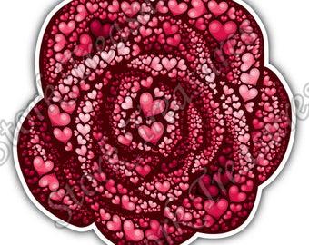 Rose Consist Of Hearts Heart Love Peace Car Bumper Vinyl Sticker Decal