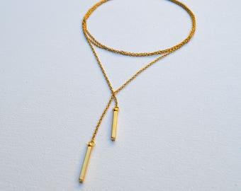 Gold // Bar Chain Wrap Choker Lariat Y Necklace //Diana Collection //  Boho Versatile Multi-Wear