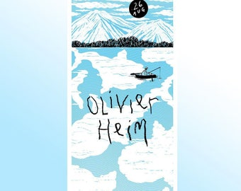 Screenprinted gig poster for Olivier Heim by Jaime Jacob (silkscreen, print, handprinted, decor, artprint, Knetterijs)