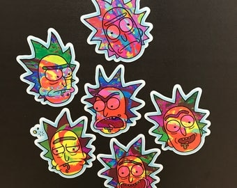 Rick and Morty Vaperwave Stickers