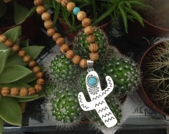 Cactus necklace and wooden beads