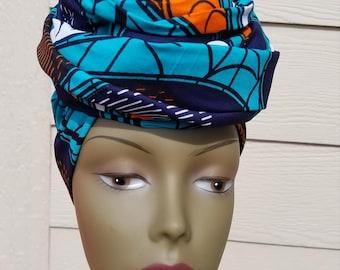 Teal Head wrap; Teal African Headwrap; African Clothing; African Fabric Headwrap; African Scarf; Fabric Headwrap: Headwrap; Head tie