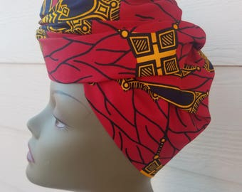 Red Head wrap; Red African Headwrap; African Clothing; African Fabric Headwrap; African Scarf; Fabric Headwrap: Headwrap; Head tie