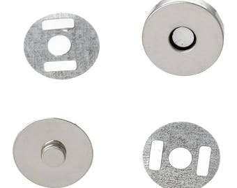 20 magnetic clasps for bags, Pocket locks, magnetic, round, 14 mm