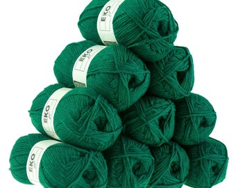 10 x 50 g knitting wool EKO FIL, #109-Pine Green