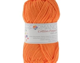 10 x 50g Strickgarn Cotton Passion 100% Baumwolle, #0243 orange