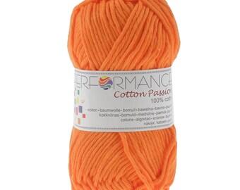 10 x 50 g knitting wool cotton passion 100% cotton, #0243 orange