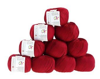 10 x 50 g knitting wool cotton breeze, #20 Red