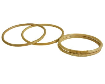 1 pair of pocket handles, wooden bamboo rings, size choice 15 or 17 cm, natural colors (size: 15 cm)
