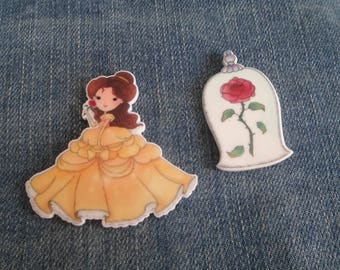 Handmade Beauty & The Beast Belle And Rose Pin Badges